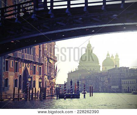 Bridge In Venice Italy Called Ponte Della Accademia And The Church Of Madonna Della Salute With Vint
