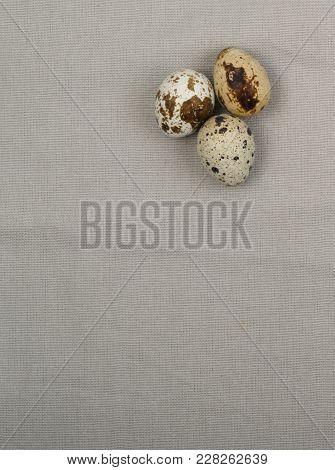 Quail Eggs On Wood Background