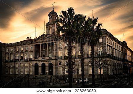 Photo Of Palácio Da Bolsa (stock Exchange Palace) In Oporto, During Golden Hour