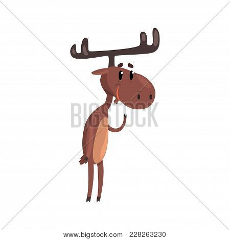 Cute Funny Deer Cartoon Character With Antlers Standing On Two Legs Vector Illustration Isolated On