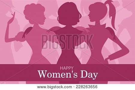 Creative Illustration Of A Young Girl On Glossy Hearts Decorated Background For Happy Women S Day Ce