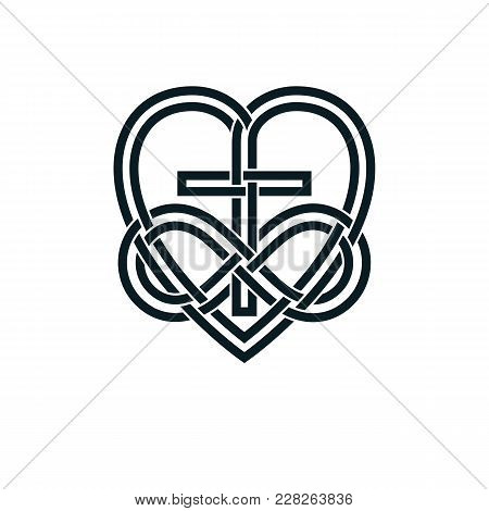 Immortal God Christian Love Conceptual Logo Design Combined With Infinity Loop Sign And Christian Cr