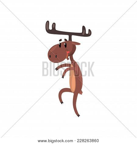Cute Funny Smiling Deer Cartoon Character With Antlers Standing On Two Legs Vector Illustration Isol