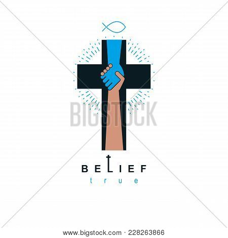 Hand Of God Shaking The Hand Of Believer, Helping And Love Of Jesus. Christian Cross Vector Symbol,