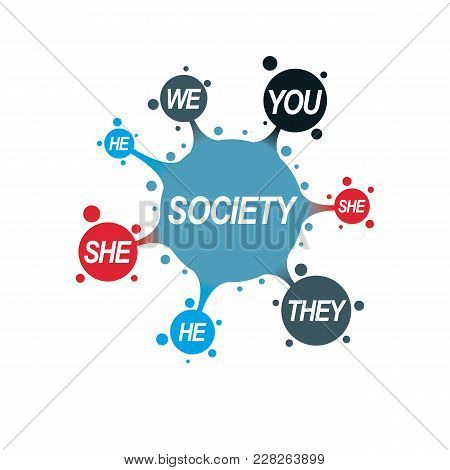 Social Relations Conceptual Logo, Unique Vector Symbol. Society And Person, Social Interaction.