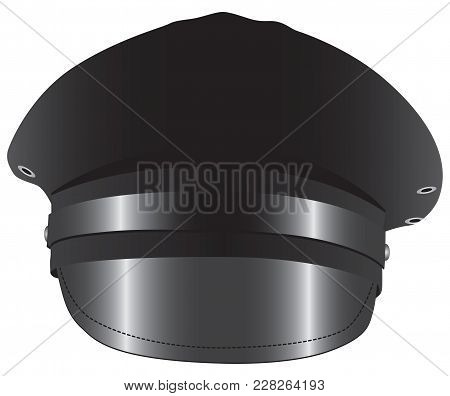 Black Chauffeur Limo Driver Costume Hat. Vector Illustration.
