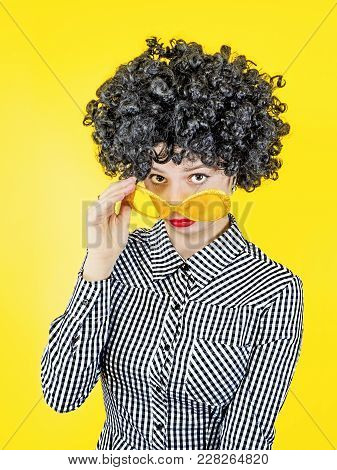 It's Incredible. Beat, Surprise And Surprise. Attractive Young Lady With Lush Afro Hair, Dropping He