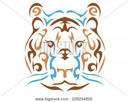 Tribal Tiger Illustration, Tiger In Tribal Style, Ornamental Line Tiger