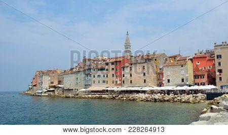 Rovinj Old Town  Peninsular  With The Church Of St. Euphemia  On The Adriatic Coast  Line Istria Cro