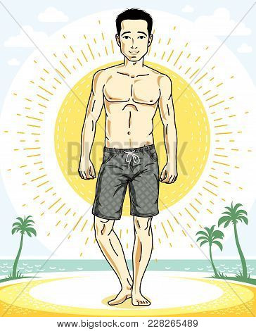 Handsome Brunet Young Man Standing On Tropical Beach In Shorts. Vector Athletic Male Illustration. S