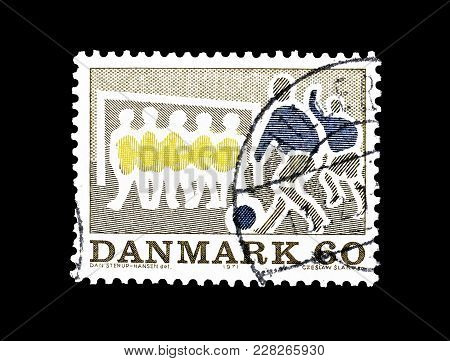 Denmark - Circa 1971 : Cancelled Postage Stamp Printed By Denmark, That Shows Football Players.