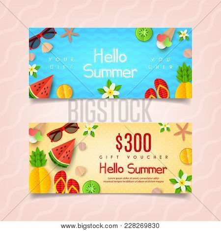 Summer Gift Voucher Template. Summer Composition With Flat Paper Cut Elements. Vector Illustration.