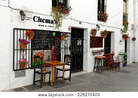 Mijas, Spain - August, 29, 2017: Wine And Tapas Outdoor Restaurant, In Mijas, Charming White Village