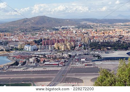 La Linea De La Concepcion Townscape In Spain And The Airport Runway. View From The Upper Rock Nation