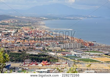 La Linea De La Concepcion Townscape In Spain, View From The Upper Rock National Reserve In Gibraltar