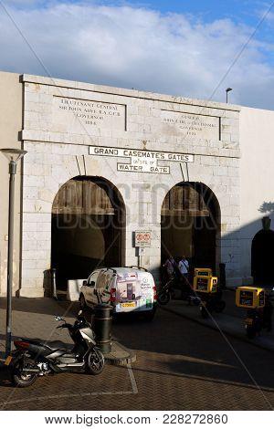 Gibraltar - August 29, 2017: Grand Casemates Gate In Gibraltar, A British Overseas Territory.