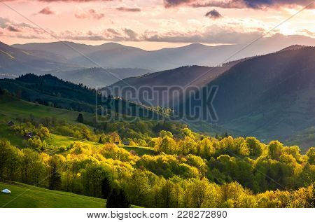 Gorgeous Mountainous Countryside At Sunset. Beautiful Landscape With Purple Sky Over The Forested Ro