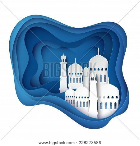 Vector 3d White Paper Mosque. Ramadan Kareem Greeting Card With Arabic Origami Mosque, Waves. Holy M