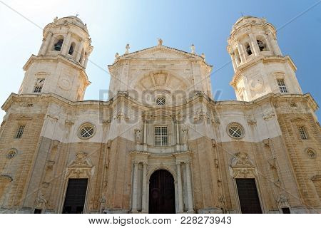 The Holy Cross Cathedral In Cadiz, Andalusia, Spain. It Is Linked To The Memory Of Master Falla And