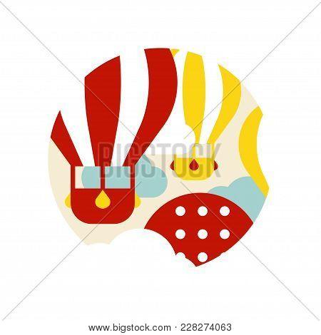Tourism Sign With Hot Air Balloons, Travel Logo Design, Element For Emblem Or Badge Vector Illustrat