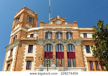 View Of The Main Post Office, Dominating The Plaza De Las Flores (plaza Topete) Square In Cadiz, Spa
