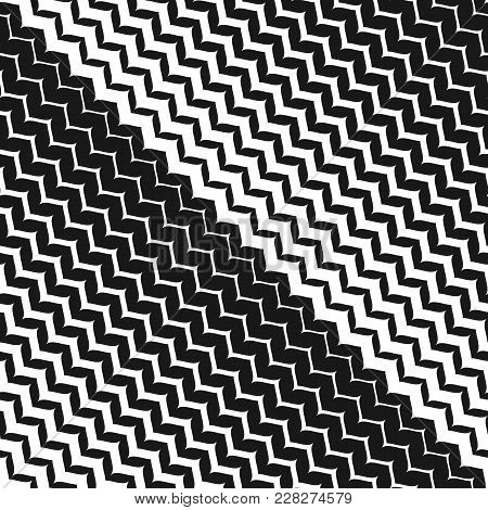 Diagonal Zigzag Lines Seamless Pattern. Vector Halftone Background. Abstract Monochrome Geometric Te
