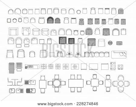 Top View Of Set Furniture Elements Outline Symbol For Dining Room, Office, Cafe, Kitchen And Living
