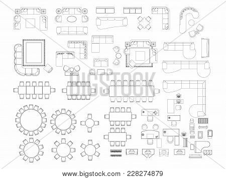 Top View Of Set Furniture Elements Outline Symbol For Dining Room, Office, Working, Living Room And