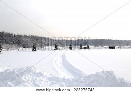 The Field In Snow, Is A Lot Of Snow After Snowfall, Deep Snow