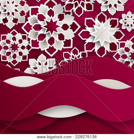 Ramadan Kareem Greeting Card With Arabic Origami Paper Stars And Waves. Holy Month Of Muslim. Symbol