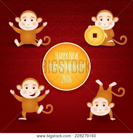Happy 2016 New Year, Card With Monkey Cartoon, Oriental Happy Chinese New Year 2016 Year Of Monkey V
