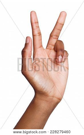 Black Female Hand Shows Number Three Isolated. Counting Gesturing, Enumeration, White Background