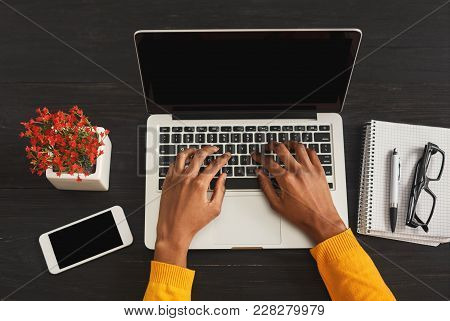 African-american Female Hands Working On Laptop. Top View Of Black Woman Working At Office Desktop W