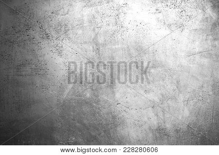 Bright Grey Grunge Texture Background. Grey Colored Concrete Wall. Abstract Glossy Grunge Plaster Te