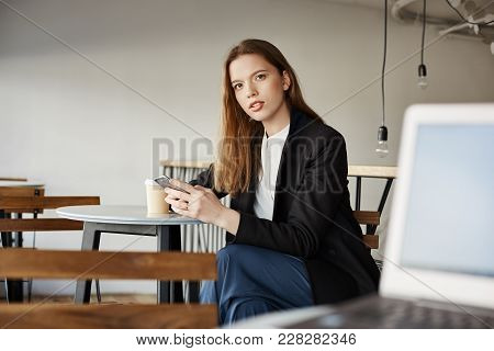 Are You Talking To Me. Stranger With Laptop Trying To Talk With Attractive Woman Sitting Next To Him