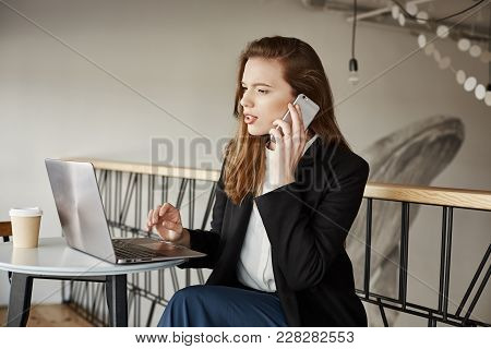 Good Day I Want To Submit Internet Order. Portrait Of Good-looking Busy Woman Sitting In Cafe, Makin