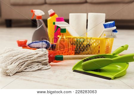 Buckets With Sponges, Chemicals Bottles, Mop, Brushes, Towel And Scoop. Household Equipment, Spring-