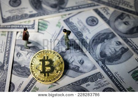 Miniature People Small Figures Businessmen Standing And Talk About Business Between Golden Bitcoin O