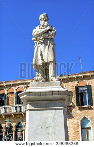 Nicolo Tommaseo Statue Famous Essayist Venice Italy.  Satue By Francesco Barzaghi In 1882
