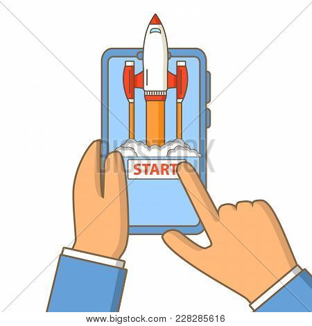 Business Concept Start Up Of A Rocket And Launch Of A Mobile Application.the Spacecraft Science Flyi
