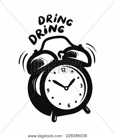 Wake Up Call, Alarm Clock Is Ringing. Vector Illustration Isolated On White Background