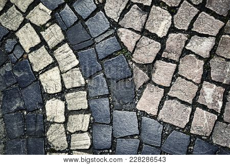 Background Or Texture Cubic Stone Paving Multicolour