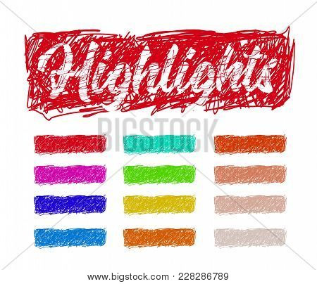 Hand Drawn Highlighter Elements. Vector Background On White