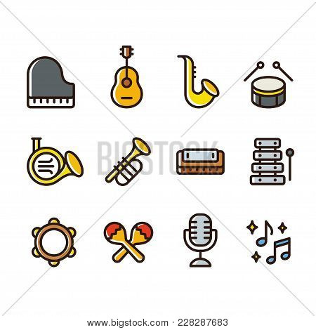 Musical Instruments Icon Set. Simple Cartoon Style Colored Line Icons. Brass Wind Instruments, Strin