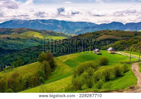 Gorgeous Countryside In Carpathian Mountains. Lovely Nature Scenery On A Cloudy Springtime Day