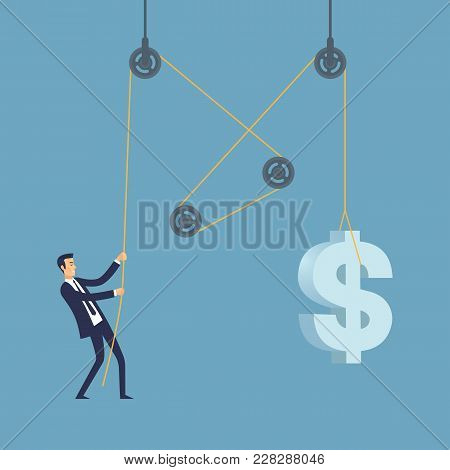 Businessman. Increasing Sales And Revenues Vector Illustration