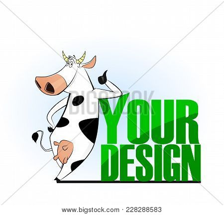 Cartoon Cow Emblem For Logo Your Design. Vector Illustration. Easy To Edit.