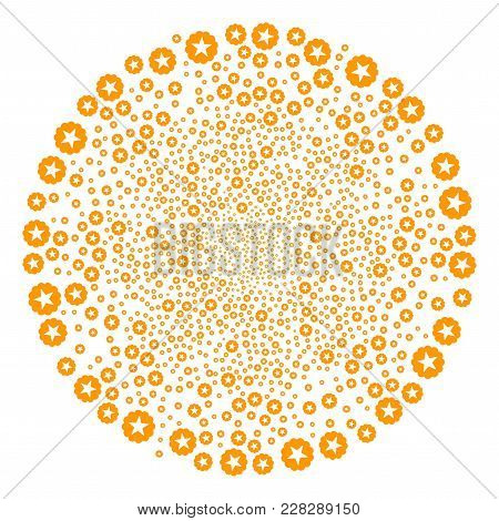 Quality Swirl Circle. Object Twirl Designed From Scatter Quality Symbols. Vector Illustration Style