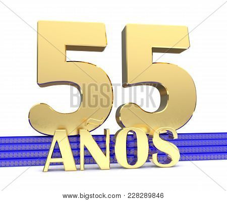 Golden Number Fifty Five And The Inscription Years On The Blue Stairs With Golden Symbols Endless Kn