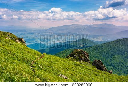 Path Through Grassy Hillside Over The Cliff In Mountains. Magnificent Borzhava Mountain Ride In The
